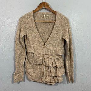 MOTH Anthropologie Ruffle Wool Cardigan Size XS